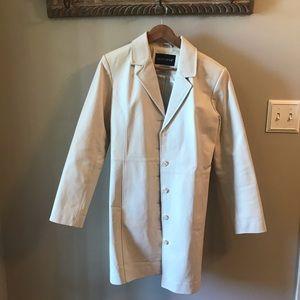 Creamy Sleek White Genuine Leather Button Coat